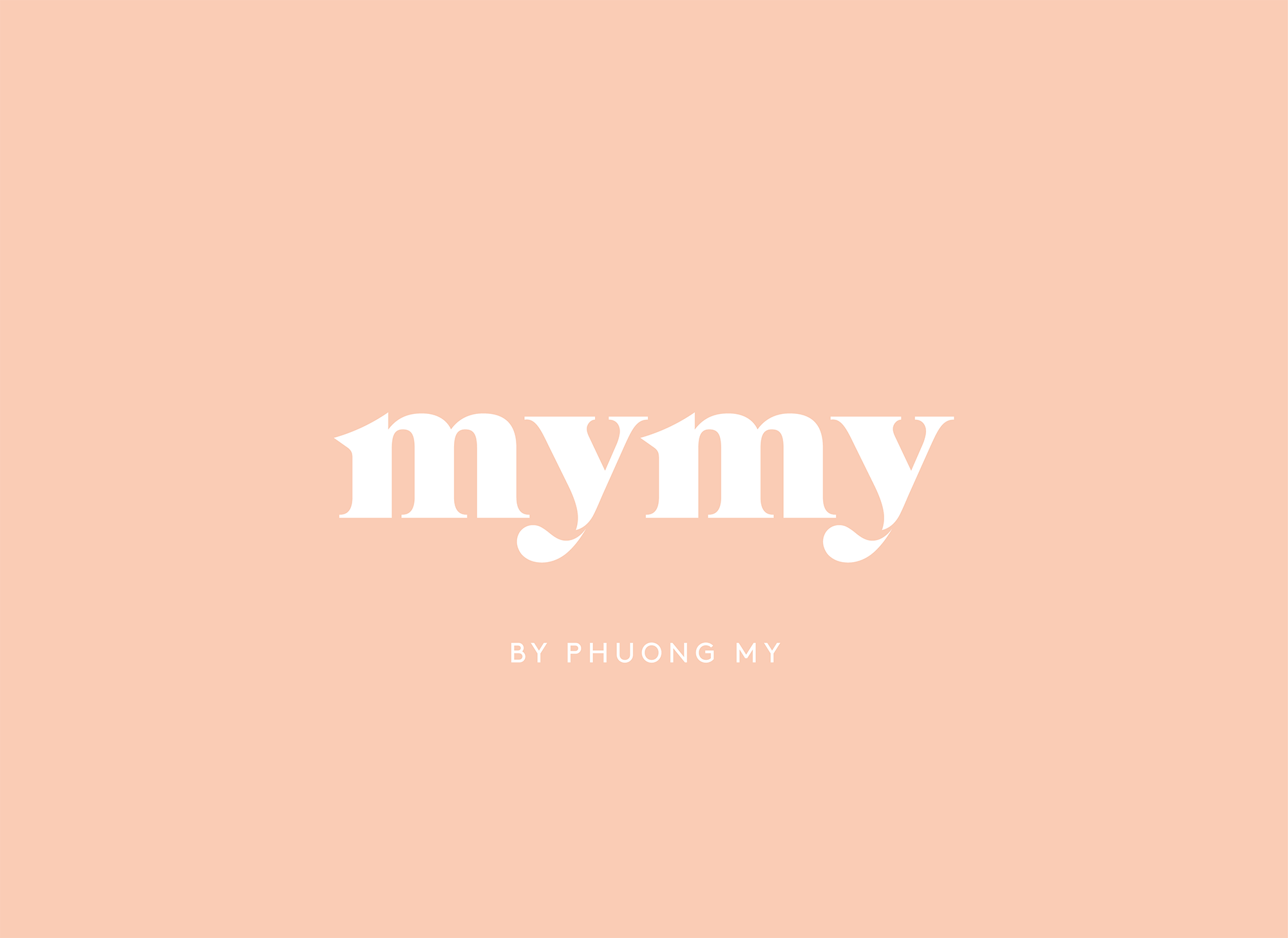 MYMY logo on peachy-pink background