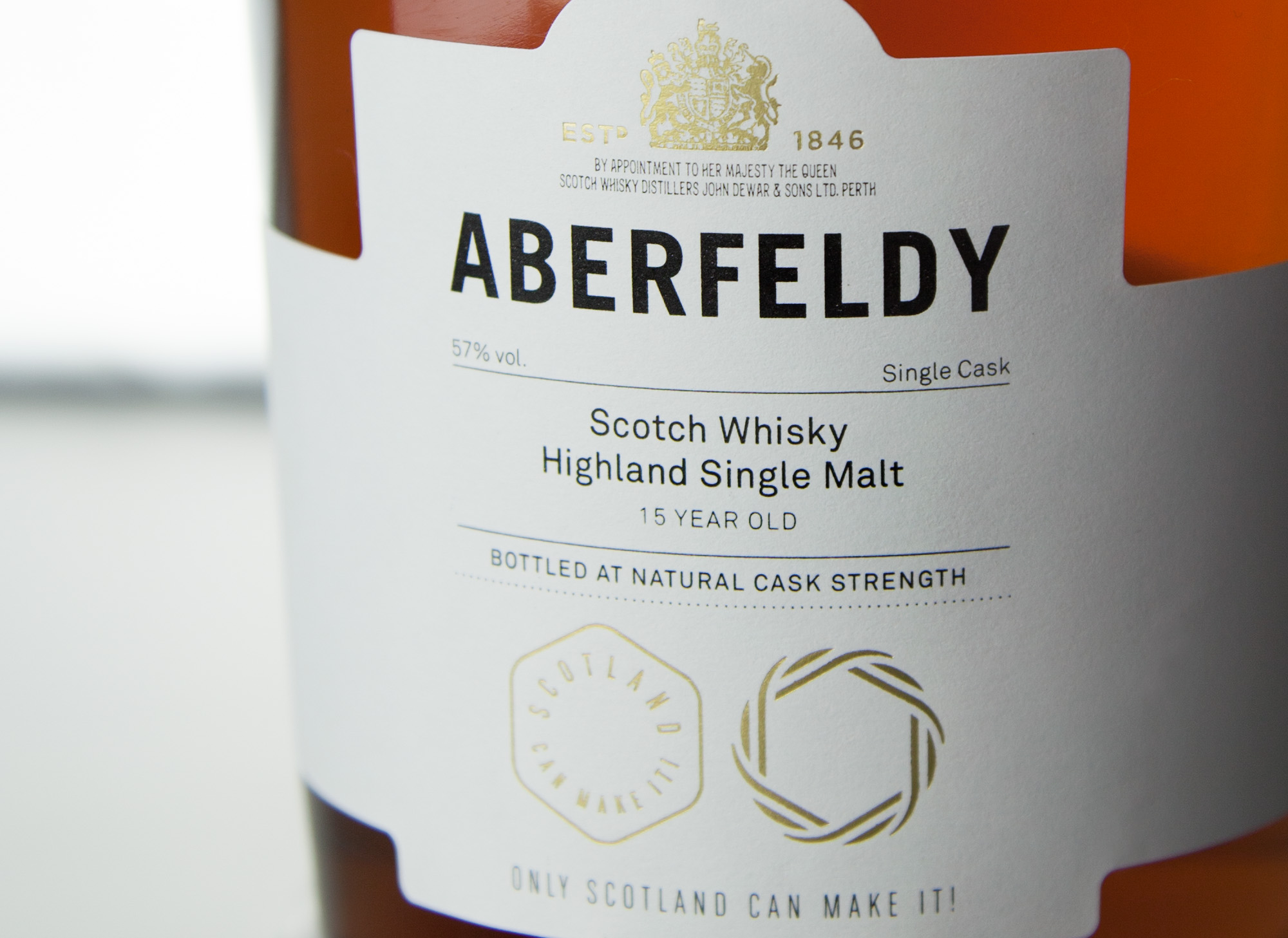 Close of the bottle label for Aberfeldy whiskey